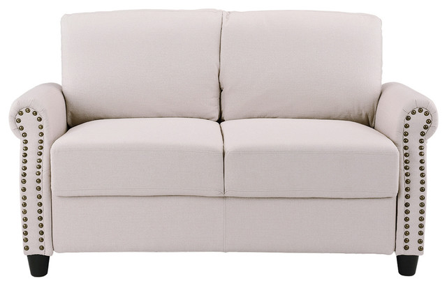 Beau Classic Linen Loveseat With Nailhead Trim And Storage Space, Beige