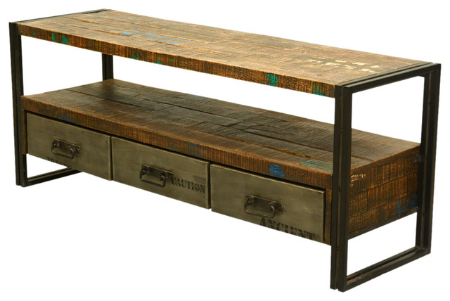 "Sierra Living Concepts - Industrial Reclaimed Wood & Iron 59"" Media Console with Drawers - View ..."
