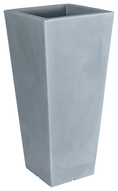 Hydrus Tall Square Tapered Polyethylene Outdoor Plant Pot, Stone Grey