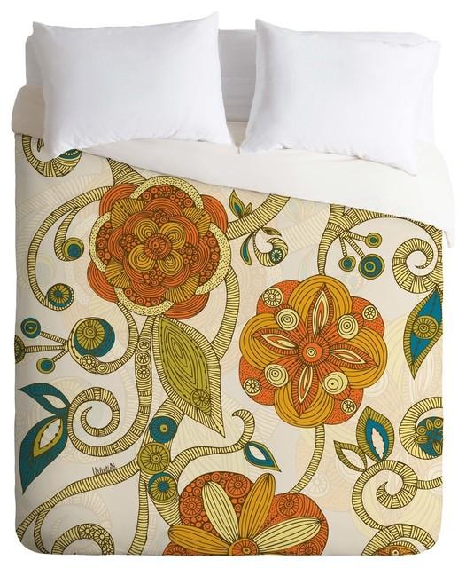 Deny Designs Valentina Ramos Orange Flowers Duvet Cover - Lightweight