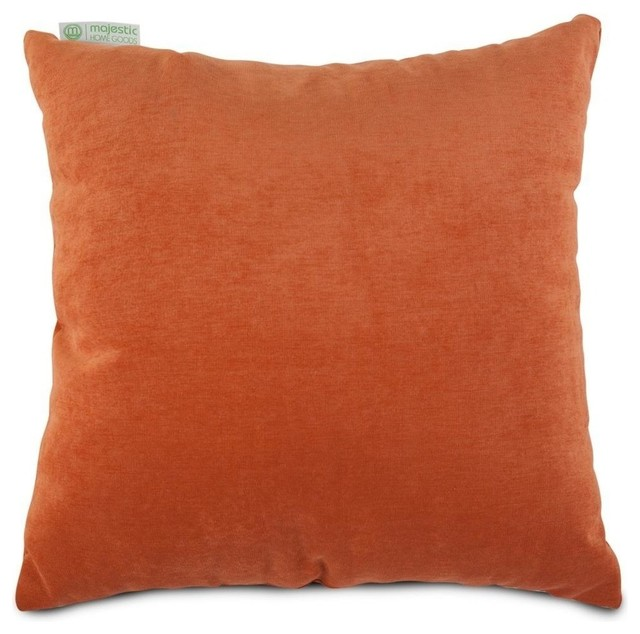 Chateau Plush Velvet Throw Pillow, Orange, Large Square.