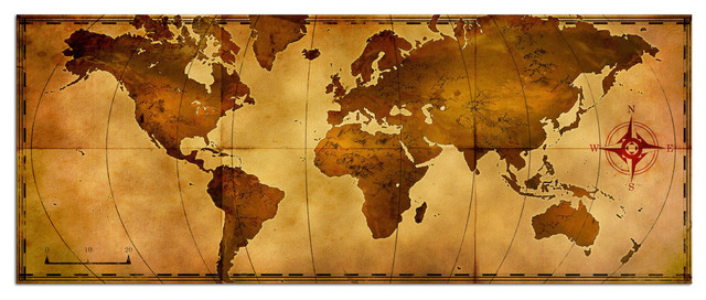antique style map art giclee on metal