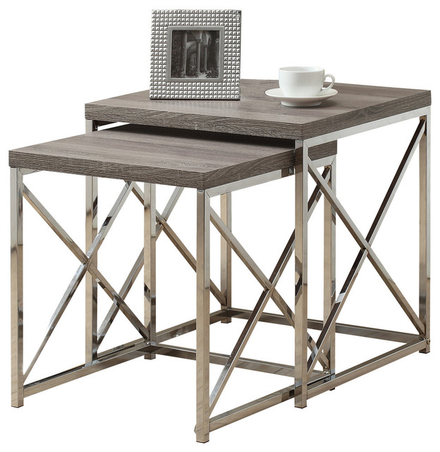 Nesting Table, 2 Piece Set, Dark Taupe With Chrome Metal Contemporary Coffee