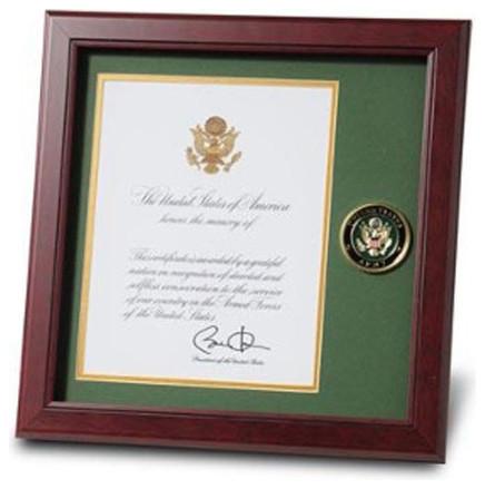 U.S. Army Medallion Presidential Memorial Certificate Frame ...