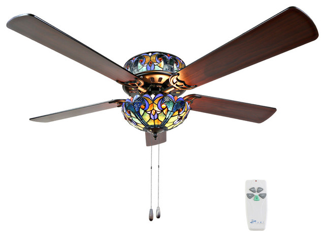 Tiffany Style Stained Glass Halston Ceiling Fan, Blue