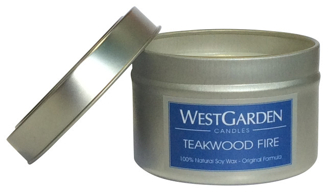 Teakwood Fire Highly Scented Natural Soy Wax Candle, 3 oz. contemporary-candles