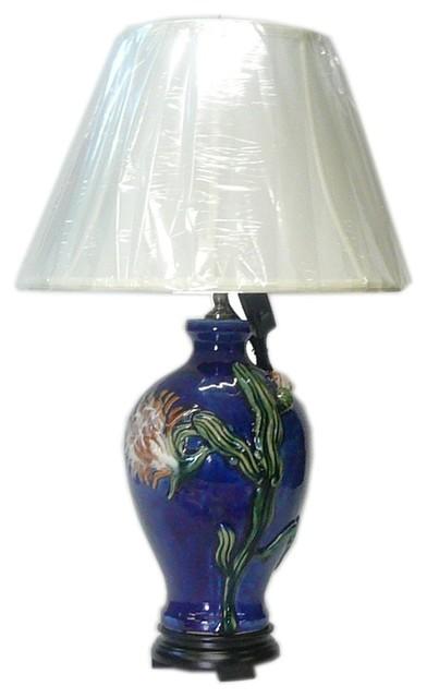 Chinese Navy Blue Flower Porcelain Vase Base Table Lamp