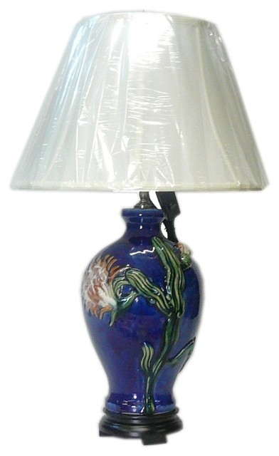 Chinese Navy Blue Flower Porcelain Vase Base Table Lamp Table Lamps By Golden Lotus Antiques