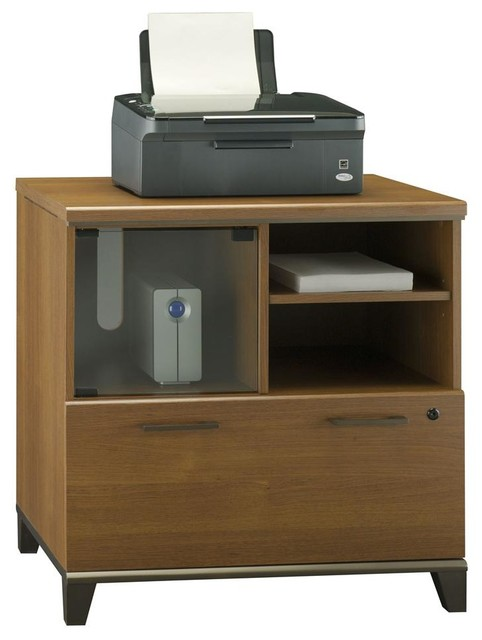 Perfect Printer Stand In Warm Oak Finish Contemporary Home Office Accessories