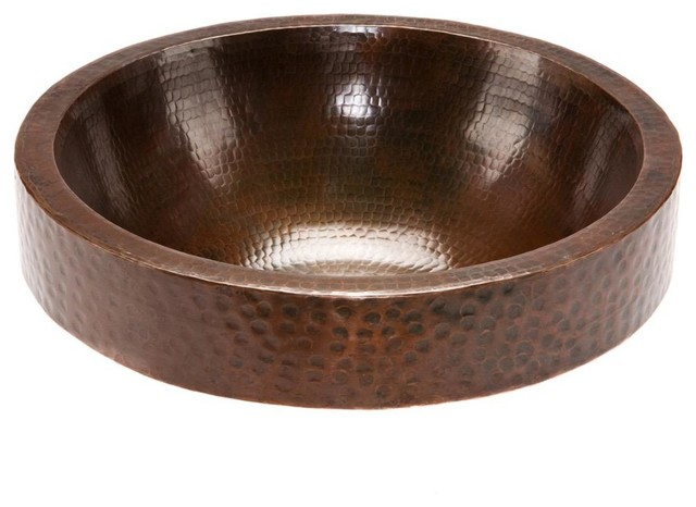 Round skirted vessel hammered copper sink rustic bathroom sinks by knobbery dot com llc for Hammered copper bathroom sinks