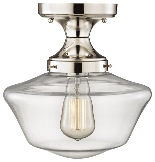 "Clear Glass Schoolhouse Ceiling Light, Satin Nickel, 10""."