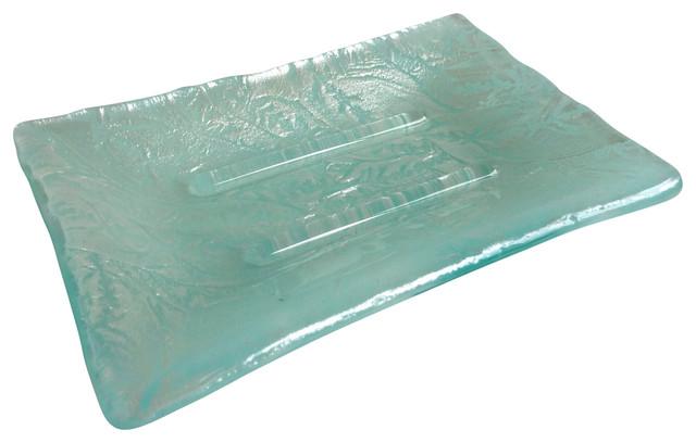 Elegant Fused Glass Soap Dish, Aqua Streaky and Silver