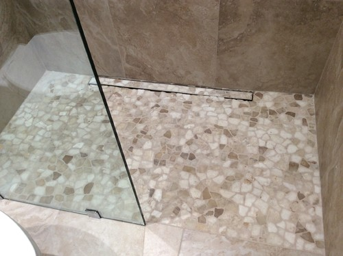 color pebble floor ideas shower tile home town unexpected effect bowie for
