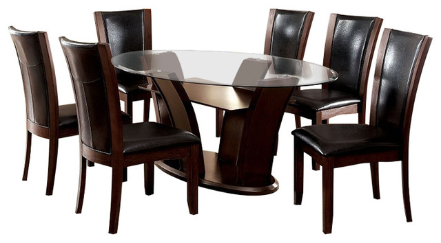 Manhattan Dark Cherry Finish Oval Glass 7 Piece Dining Table Set Transitional Dining Sets By Solrac Furniture
