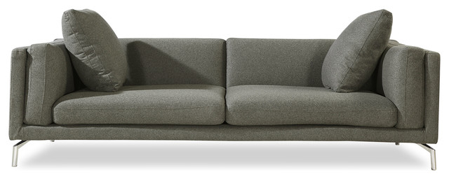 Basil Modern Contemporary Sofa, Stainless Steel Legs, Cadet Gray, Material:  Cash Contemporary