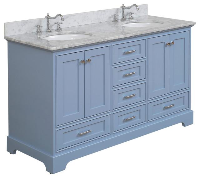 "Harper 60"" Vanity, Powder Blue, 60"", Top: Carrara, Double"