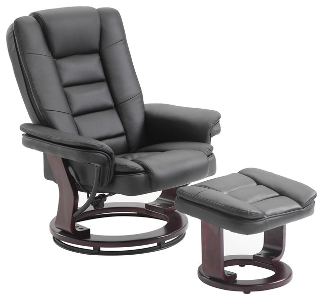 Captivating PU Leather Recliner Chair And Ottoman Swivel Lounge Leisure Living Room Set  Contemporary Recliner
