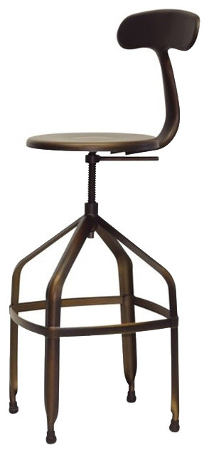 Architect's Industrial Bar Stools With Backrest, Antiqued Copper, Set of 2