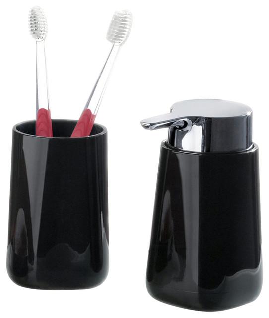 bath accessories bathroom tumbler and liquid soap dispenser 2 piece set black - Bathroom Tumbler