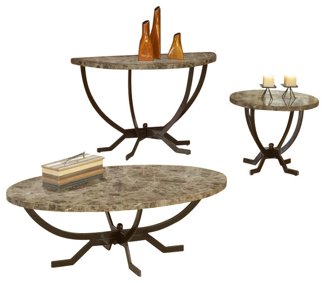 Hillsdale Monaco Faux Marble 3 Piece Coffee Table Set In Espresso Traditional Coffee Table
