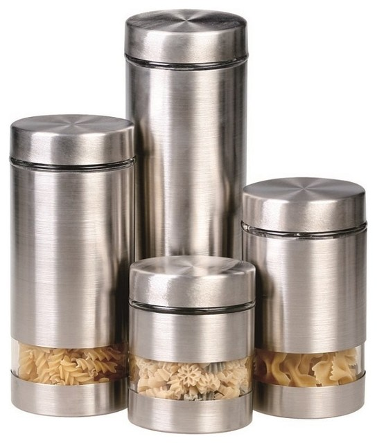 contemporary kitchen canisters rotunda 4 piece canister set contemporary kitchen canisters and jars by overstock com 6534
