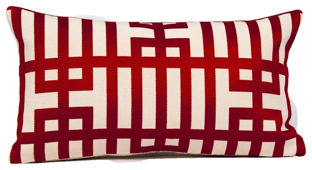 Red Geometric Lumbar Pillow Cover Kravet Couture Fabric Designer Pillow Cover Contemporary Decorative Pillows By Gallerie Varda