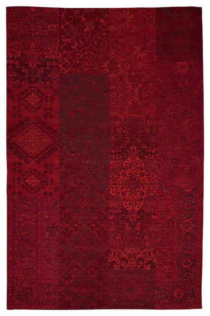Antika Dark Red Patchwork Rug