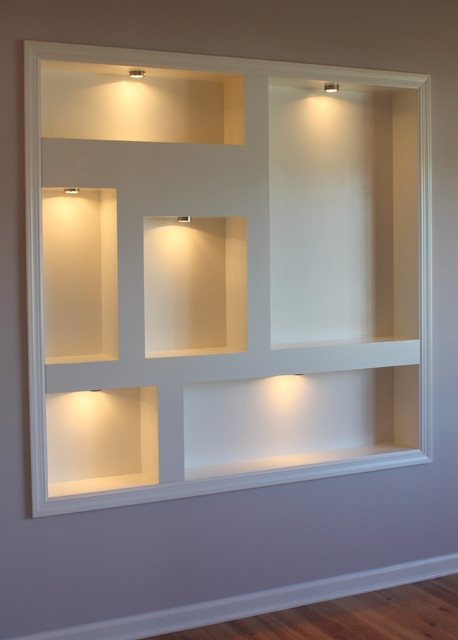 Lighted display niches contemporary new york by spectrum construction development co inc - Wall niches ...