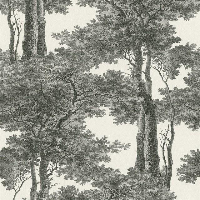 Screen Print Trees Wallpaper, Black/white, Double Roll.