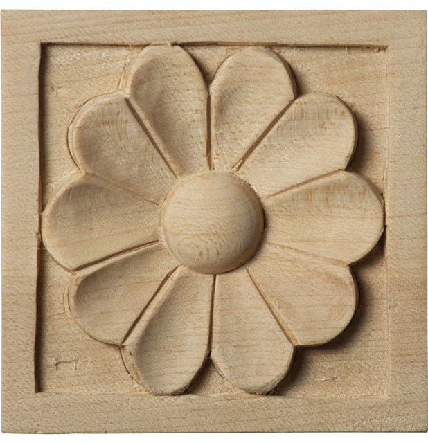 Sanford Square Block Wood Rosettes Traditional Onlays