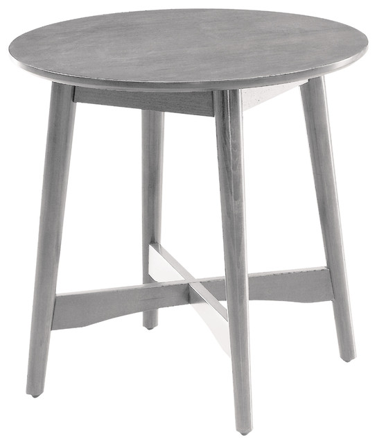 Dustin Mid-Century Modern Round End Table, Gray