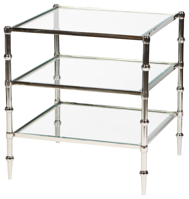 Tiered Square Glass Accent Table In Polished Nickel Finish  Transitional Side Tables And