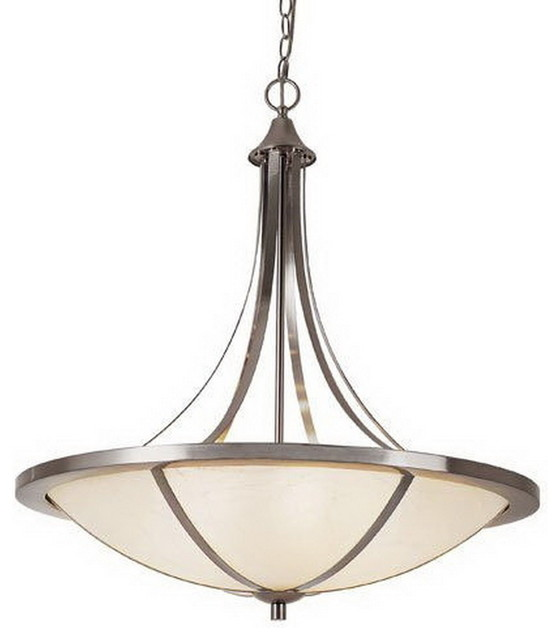 Piston 6Light Chandelier With Frosted Glass White and Brushed – Brushed Nickel Chandelier Lighting