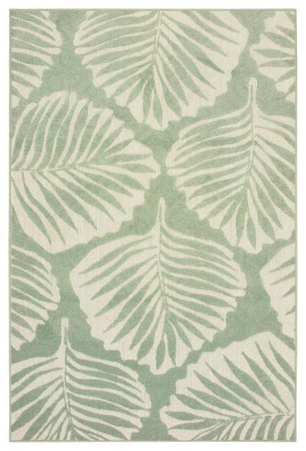 Ibiza Tropical Leaf Green/ Ivory Area Rug, 5&x27;3x7&x27;6.