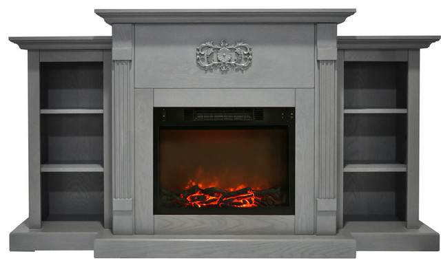 72 Quot Electric Fireplace Black Coffee Built In Bookshelves