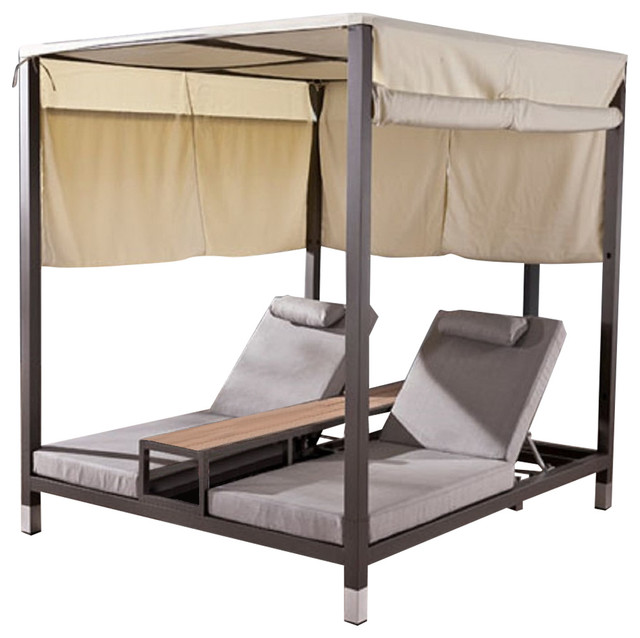 Amber modern outdoor double daybed with canopy and teak for Canopy chaise lounge