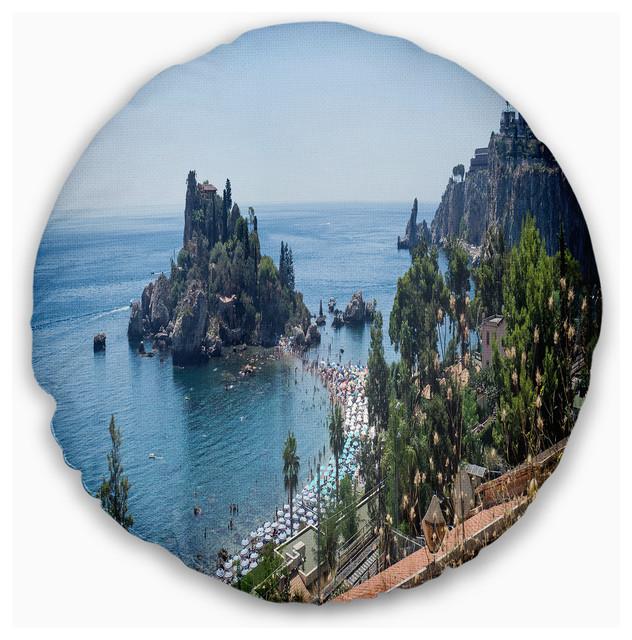 Taormina Island Panoramic View Landscape Photography Throw Pillow Tropical Decorative Pillows By Design Art Usa