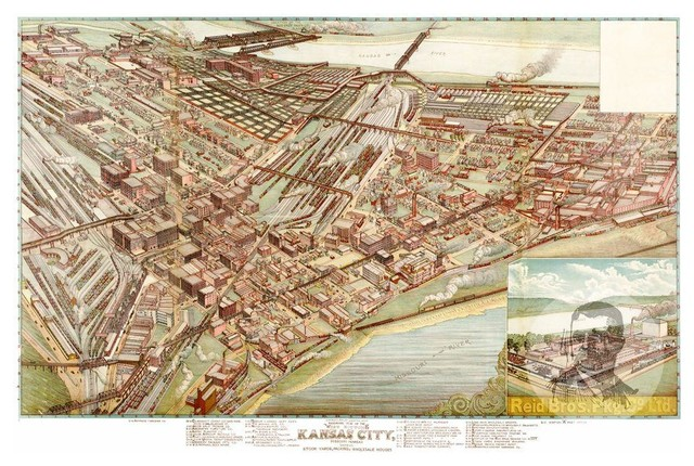 Historic Kansas City, MO Map 1895, Vintage Missouri Art Print Decor ...