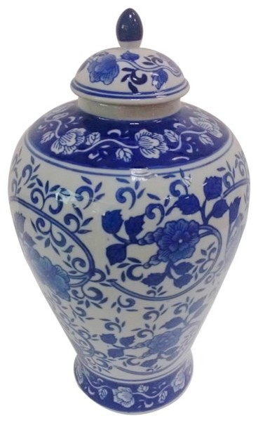 12 Blue And White Porcelain Melon Jar With Lid