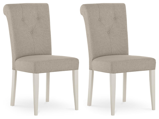 Morris White And Gray Farmhouse Dining Chairs, Set Of 2.