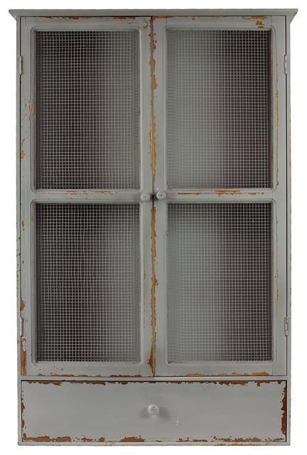 Antique Style Gray Wood Cabinet Wire Mesh Door Home Storage Decor