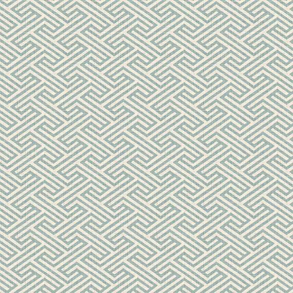 Aqua Geometric Maze Linen Fabric