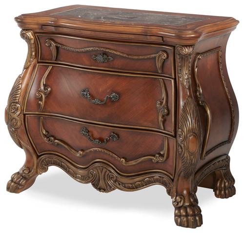 Chateau Beauvais Bedside Chest, ornate bombe chest, bombe chests, bombay chest of drawers