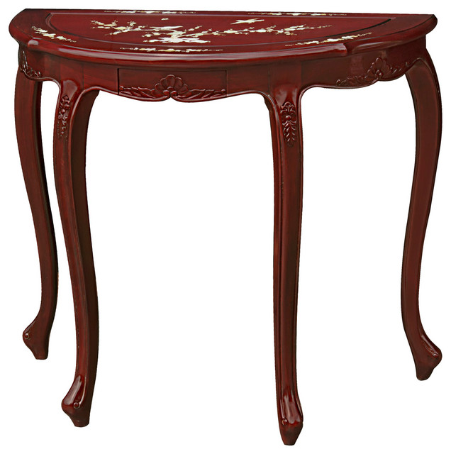 Half Moon Table rosewood mother of pearl inlay french half moon table - asian