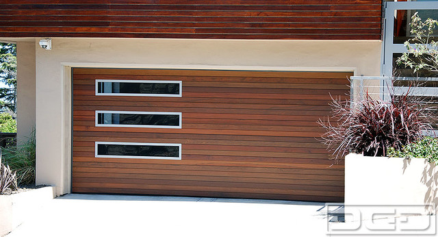 San francisco luxury modern garage door in solid ipe siding designer windows modern garage - Modern home luxury doors ...