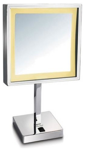 Freestanding 5x Magnified Mirror, Polished Chrome Finish.
