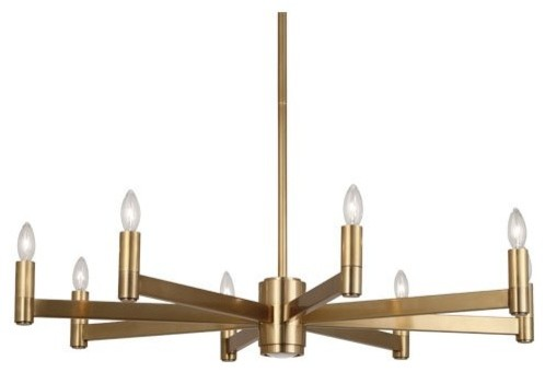 Robert Abbey 4500 Delany - Nine Light Round Chandelier, Antique Brass