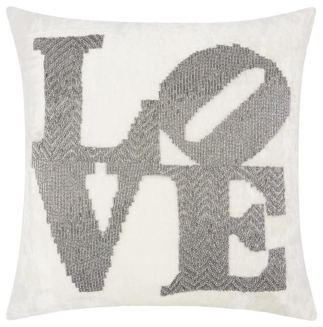Luminescence Fully Beaded Love Throw Pillow, Pewter.
