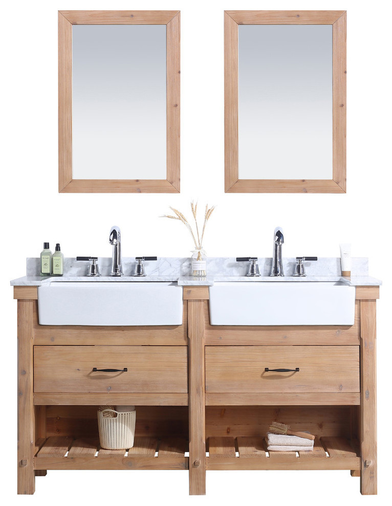 Marina 60 Bathroom Vanity Driftwood Finish Transitional Bathroom Vanities And Sink Consoles By Ari Kitchen Bath Houzz