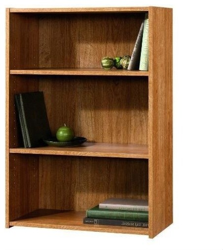 Awe Inspiring Modern Oak Finish 3 Shelf Bookcase With 2 Adjustable Shelves Made In Usa Download Free Architecture Designs Rallybritishbridgeorg